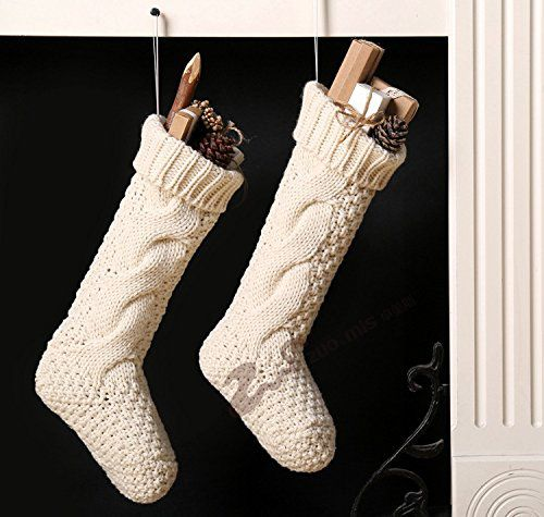 "18"" Unique Ivory White Knit Christmas Stockings — 4-Pack"