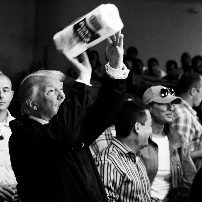 Trump Shoots Paper Towels Into Crowd of Hurricane Victims
