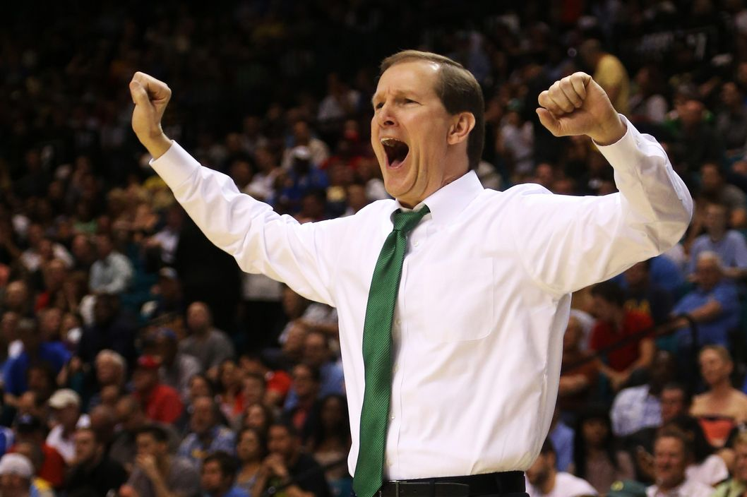 Head coach Dana Altman of the Oregon Ducks reacts in the first half against the UCLA Bruins during the Pac-12 Championship game at MGM Grand Garden Arena on March 16, 2013 in Las Vegas, Nevada.