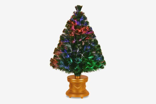 National Tree 36-Inch Fiber Optic Evergreen Firework Tree with Gold Column Base