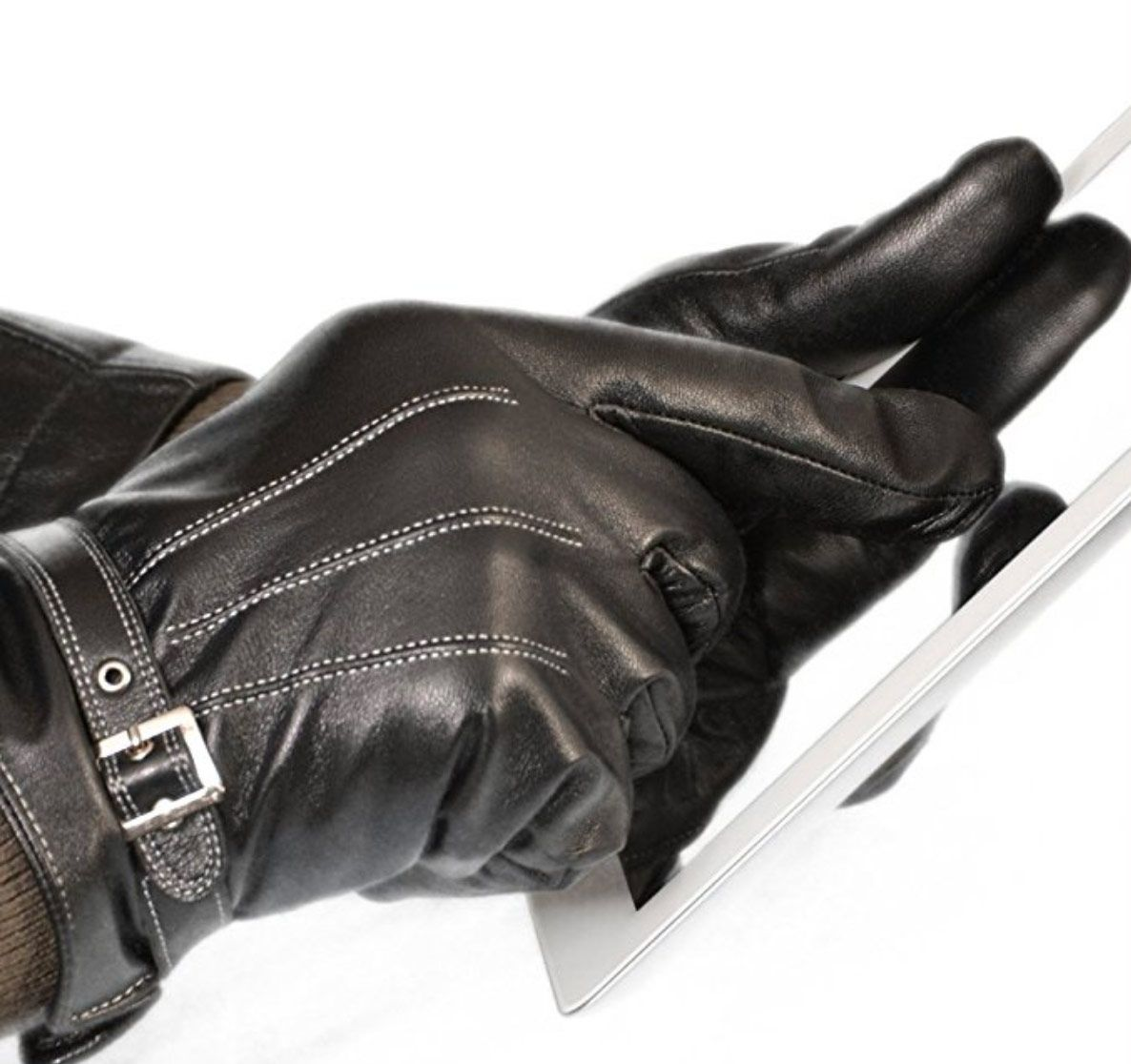 Vetelli Men's Winter Gloves/Black Leather Driving Gloves (Touchscreen Technology)