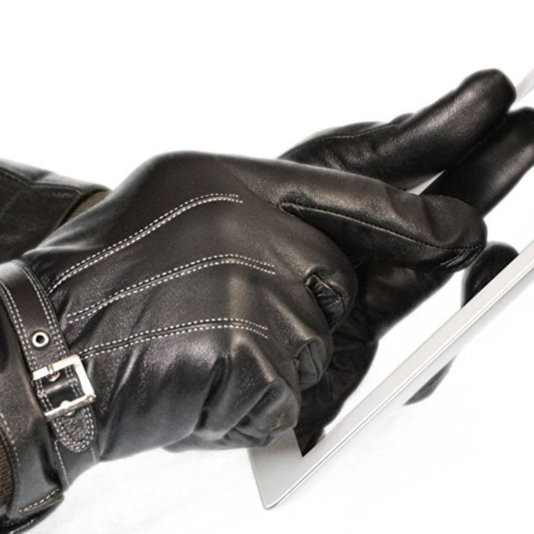 Vetelli Men's Winter Gloves/Black Leather Driving Gloves (Touchscreen Technology)
