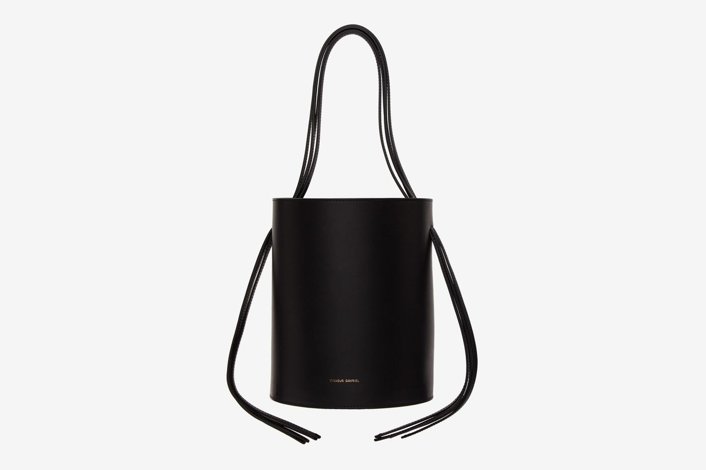 Mansur Gavriel Black Fringe Bucket Bag