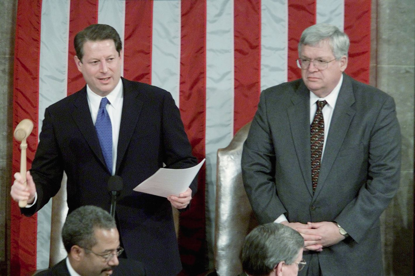 U.S. Vice President Al Gore closes the Joint Session of Congress for the counting of electoral votes after reading the results of the November, 2000 U.S. presidential election while in the House of Representative chamber in the U.S. Capitol, January 6, 2001. As president of the Senate, Gore, a Democrat, presided over a joint session of Congress that certified the state-based Electoral College vote, which showed that George W. Bush, a Republican, defeated him by a count of 271-266. At right is House Speaker Dennis Hastert.