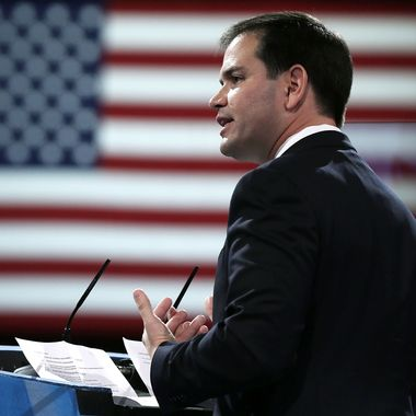 NATIONAL HARBOR, MD - MARCH 14:  U.S. Sen. Marco Rubio (R-FL) addresses the 40th annual Conservative Political Action Conference (CPAC) March 14, 2013 in National Harbor, Maryland. A slate of important conserative leaders are slated to speak during the the American Conservative Union's annual conference.  (Photo by Alex Wong/Getty Images)