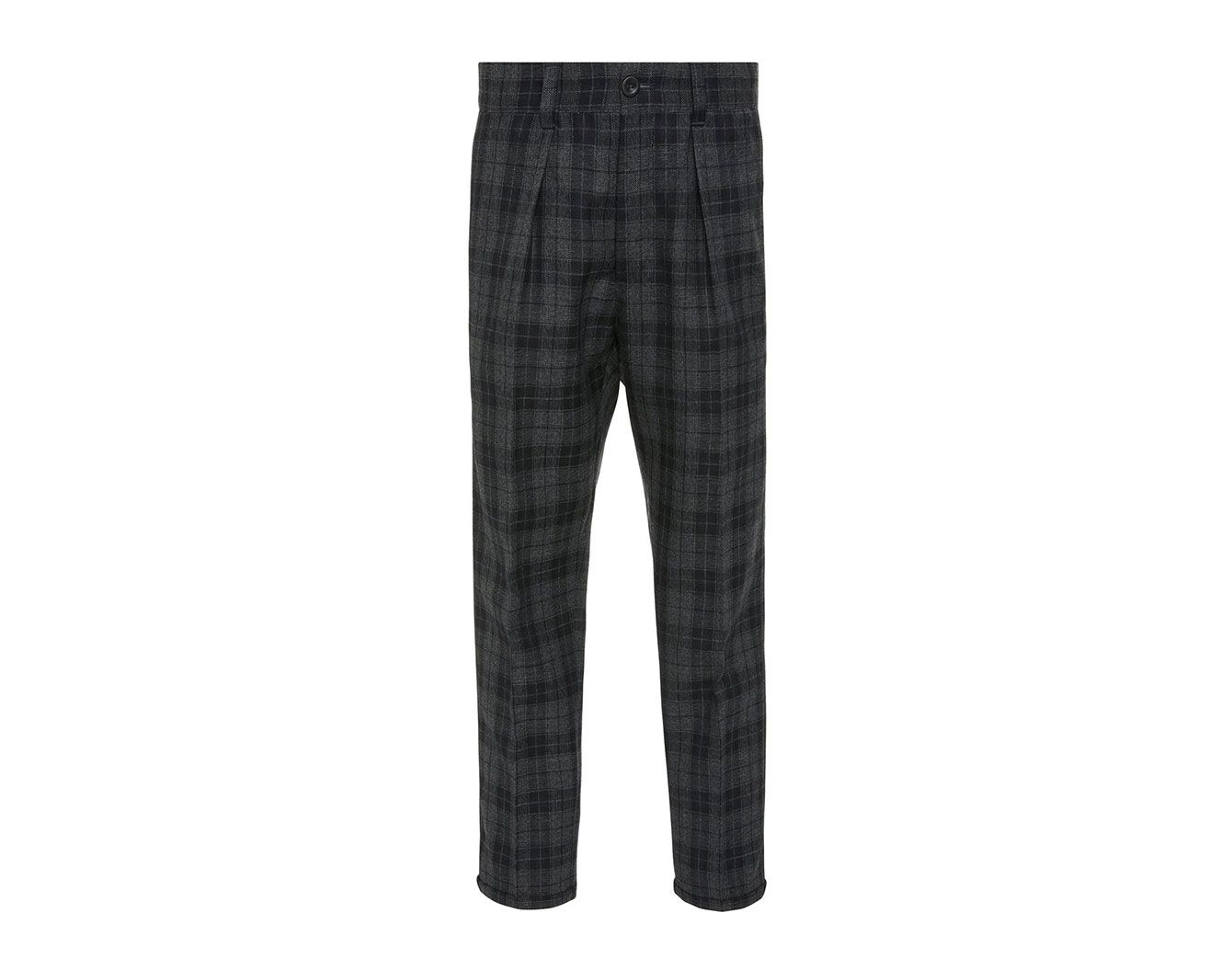 PT Forward Pleated Plaid Wool-Crepe Pants