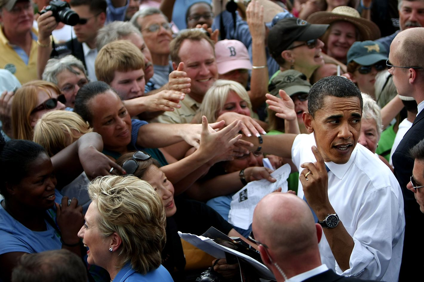 Democratic presidential candidate Sen. Barack Obama (D-IL) greets the crowd after appearing with Sen. Hillary Rodham Clinton (D-NY)  June 27, 2008 in Unity, New Hampshire.