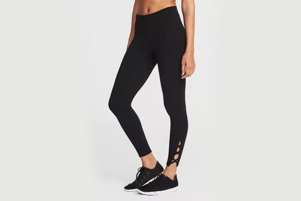 High-Rise 7/8-Length Lattice-Hem Yoga Leggings