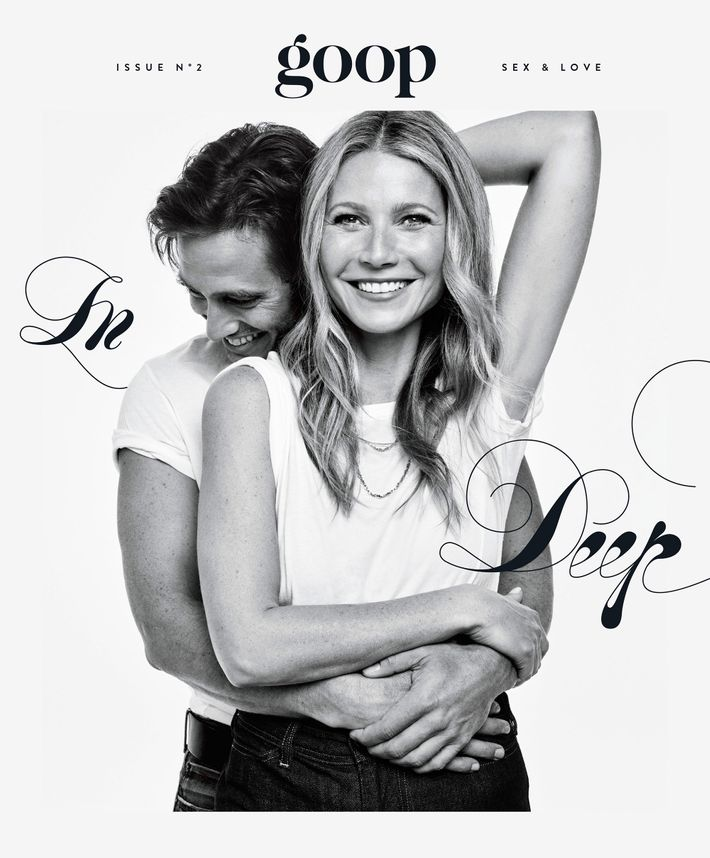 Gwyneth Paltrow and Brad Falchuk. Photo: Steven Pan /Courtesy of Goop