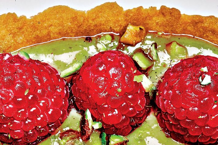Pistachio-raspberry-rose tart.