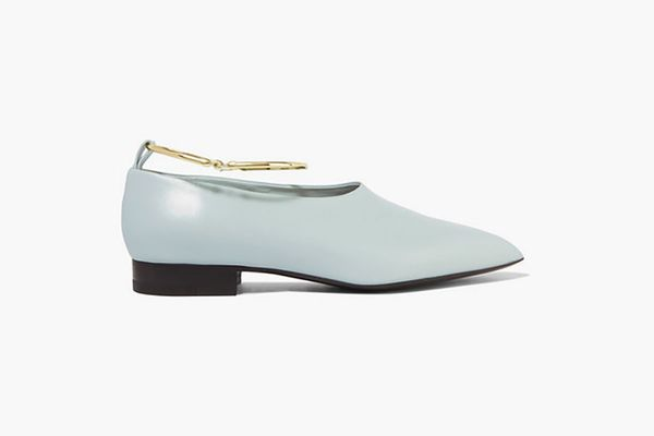 JIL SANDER Embellished glossed-leather point-toe flats