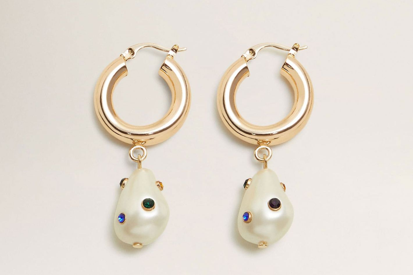Mango Pearl Hoops Earrings