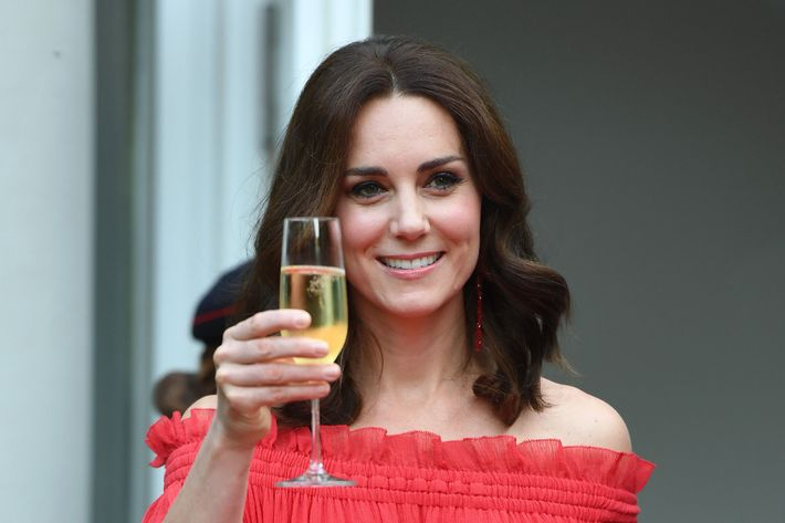 Kate Middleton with Champagne.