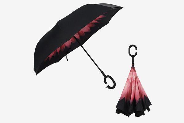 Rainlax Reverse/Inverted Double-Layer Waterproof Straight Umbrella