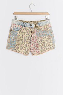 Farm Rio Ultra High-Rise Patchwork Denim Shorts