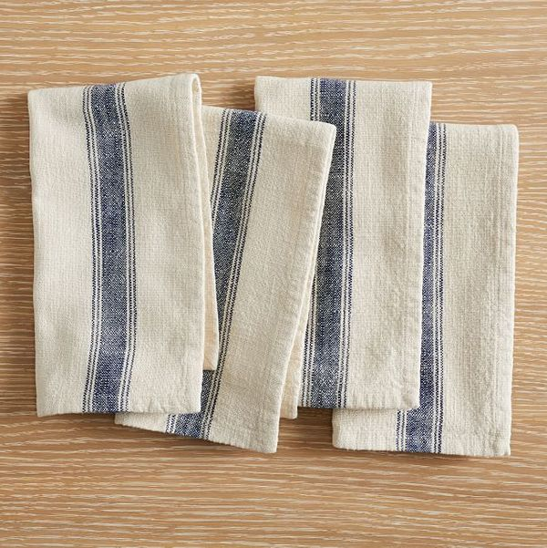Pottery Barn French Striped Organic Napkins, Set of 4