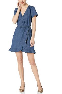 J.Crew Mercantile Short-Sleeve Chambray Ruffle Wrap Dress