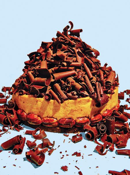 "<b>Recipe:</b><a href=""http://nymag.com/listings/recipe/pumpkin-mousse-pie/""> Pumpkin-Mousse Pie With Chocolate Crust</a> by Michel Richard"