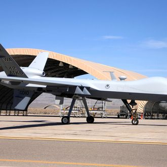 The MQ-9 Reaper Unmanned Aerial Vehicle taxis into Creech Air Force Base, Nev., March 13 marking the first operational airframe of its kind to land here. This Reaper is the first of many soon to be assigned to the 42nd Attack Squadron.