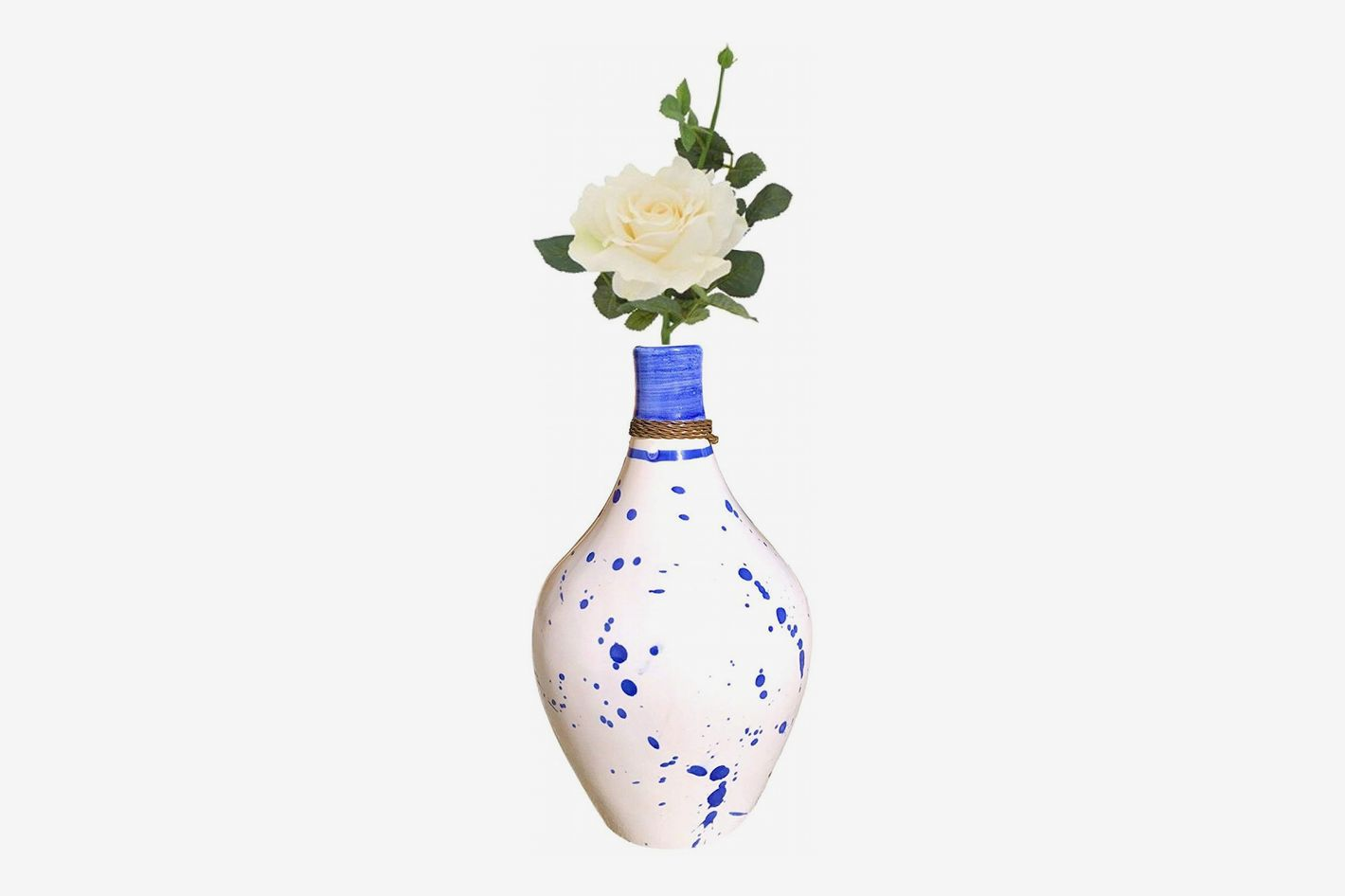 Kauri Cobalt Blue Splatter White Ceramic Vase