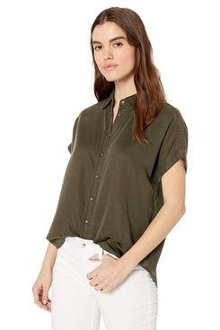 Daily Ritual Women's Tencel Relaxed-Fit Short-Sleeve Shirt