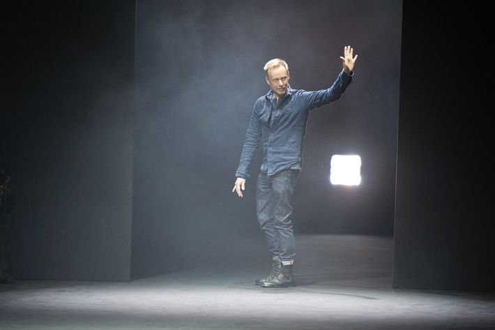 Designer Bill Gaytten acknowledges the applause of the audience after the John Galliano Ready-To-Wear Fall/Winter 2012 show as part of Paris Fashion Week at Espace Ephemere Tuileries on March 4, 2012 in Paris, France.