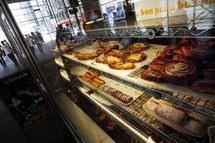 An Au Bon Pain store displays pastries July 01, 2008 in New York City.