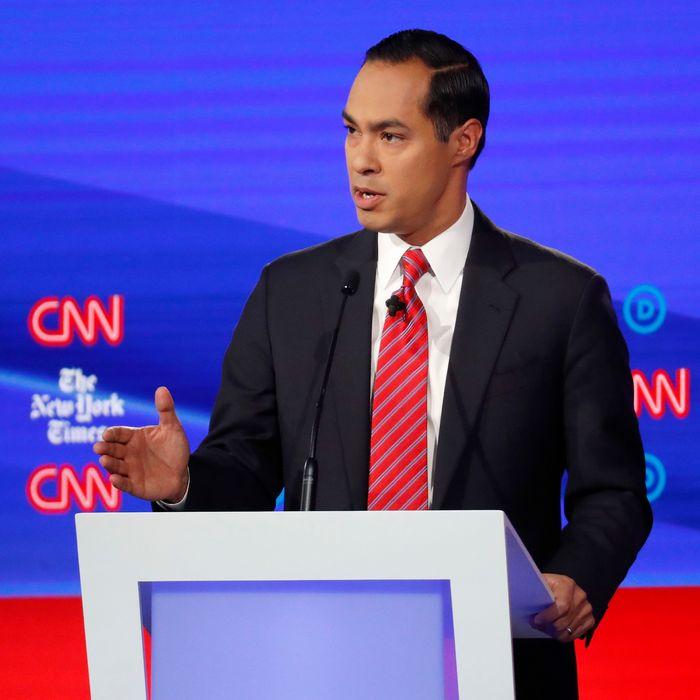 Democratic presidential candidate former Housing Secretary Julian Castro speaks in a Democratic presidential primary debate.