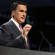 LAKE BUENA VISTA, FL - JUNE 21:  Republican Presidential candidate, former Massachusetts Governor Mitt Romney speaks at the National Association of Latino Elected and Appointed Officials (NALEO) 29th Annual Conference on June 21, 2012 in Lake Buena Vista, Florida. Romney spoke about immigration reform as he continues to battle U.S. President Barack Obama for votes. (Photo by Gerardo Mora/Getty Images)