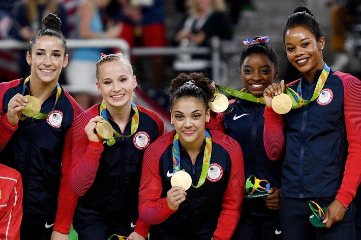 Aly Raisman, Madison Kocian, Laurie Hernandez, Simone Biles, and Gabby Douglas.