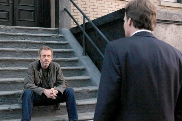 HOUSE:  House (Hugh Laurie, L) has some news for Wilson (Robert Sean Leonard,