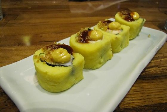 Building on the causa nigiri he introduced at Picca, Zarate is now turning the potato base into maki rolls.