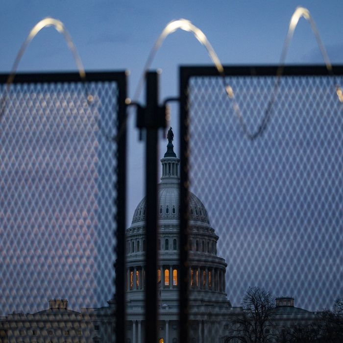 Temporary security fencing near the U.S. Capitol