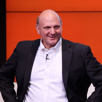 BERLIN, GERMANY - NOVEMBER 07: Microsoft Chief Executive Steve Ballmer speaks at the opening of the Microsoft Center Berlin on November 7, 2013 in Berlin, Germany. The Microsoft Center Berlin, part of a new worldwide initiative called Microsoft Ventures, includes support for startups, conference rooms and the company's 'Digital Eatery,' a cafe and showroom on the ground floor that lets customers try out Microsoft products along with locally-sourced dishes. The company is hoping that the venue will help ensure Microsoft has a place in the city's Internet technology scene. (Photo by Adam Berry/Getty Images)