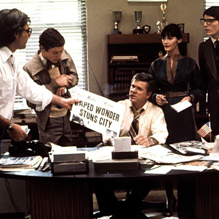 SUPERMAN, Marc McClure, (second from left), Jackie Cooper, Margot Kidder, Christopher Reeve, 1978, (c)Warner Bros./courtesy Everett Collection