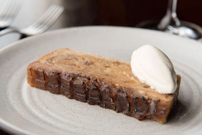 Grilled date cake with nocino cream.