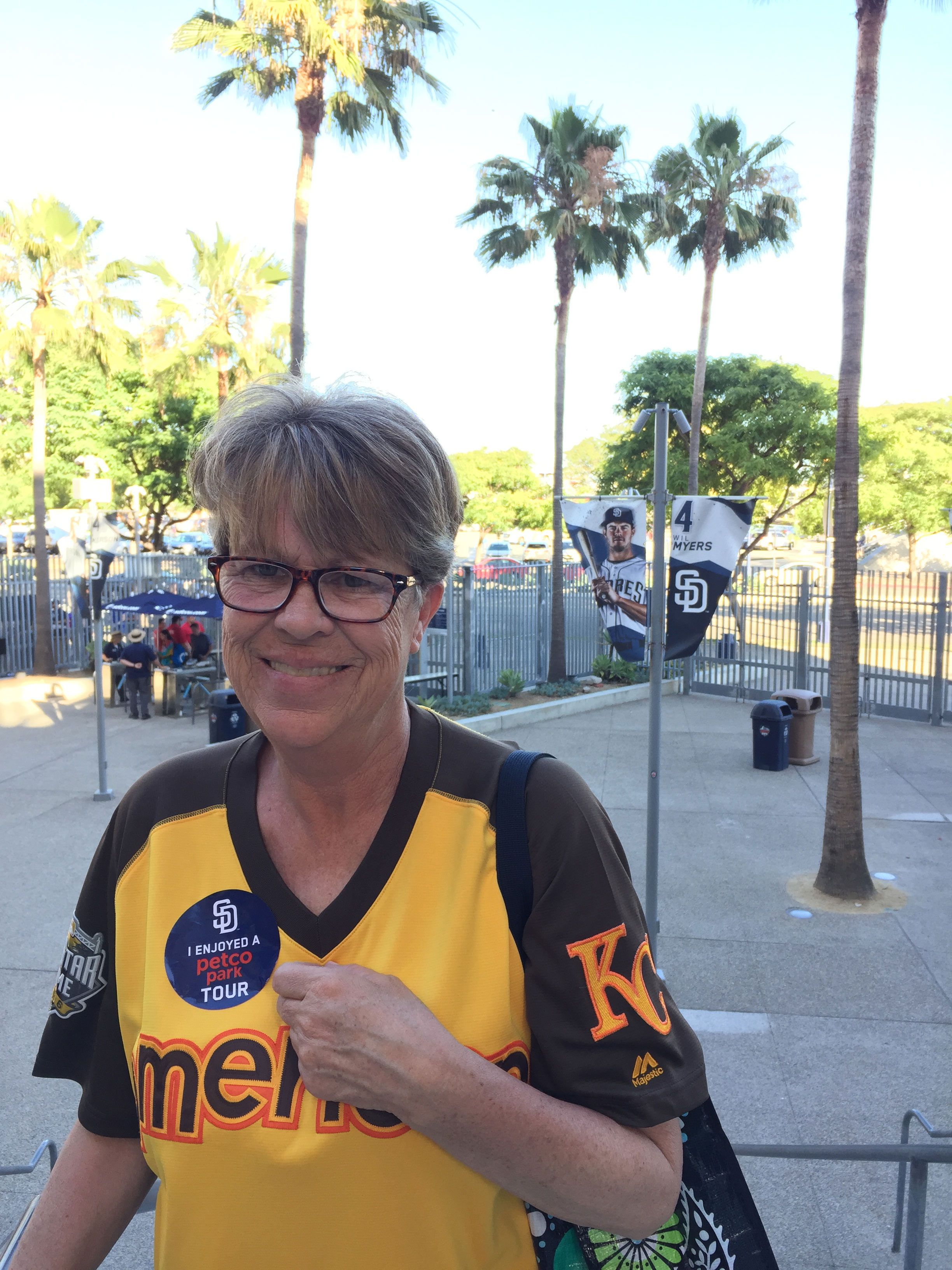 a72782a47 Here, my super-fan mother is posing with a banner of Myers. He's a first  baseman for the Padres who was originally signed by the Royals.