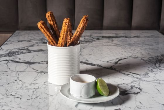Shrimp churros with sesame and Thai coconut curry.