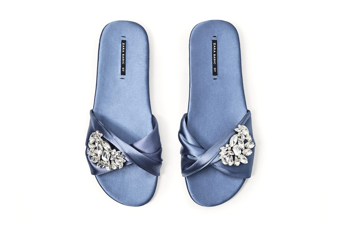 Zara satin slides with gem buckle