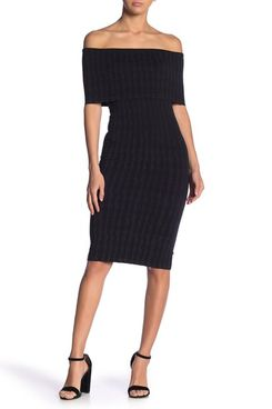 The model is wearing Wolford vertical striped off-the-shoulder knee-length sheath dress with black ankle strapped block heeled sandals. 33 Things on Sale You'll Actually Want to Buy: From Adidas to Le Creuset - The Strategist