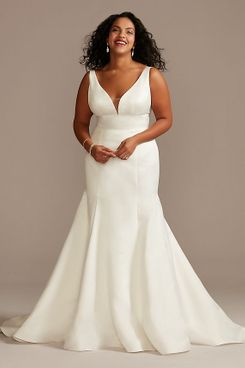 David's Bridal Plunge Mermaid Satin Plus Size Wedding Dress