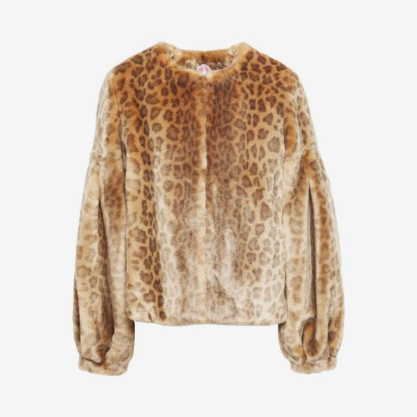 Shrimps Fergal Leopard-Print Faux Fur Jacket