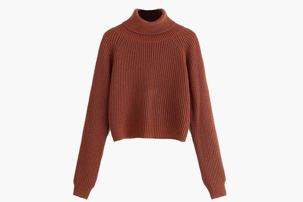 Milumia Women Crop Turtleneck Sweaters Basic Fall Winter Solid Pullover Long Sleeves