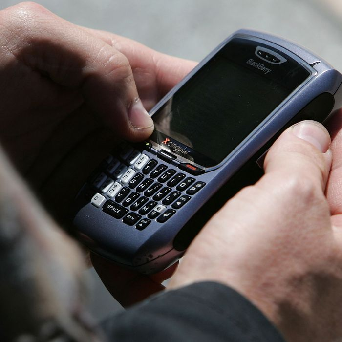 BlackBerry user Douglas Philips checks emails on his BlackBerry April 18, 2007 in San Francisco, California. Millions of BlackBerry users across the United States experienced a disruption in email service as Canada based Research in Motion dealt with technical difficulties with its email servers.
