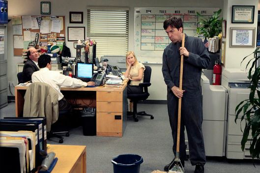 "THE OFFICE -- ""Free Family Portrait Studio"" Episode 824 -- Pictured: (l-r) Brian Baumgartner as Kevin Malone, Oscar Nunez as Oscar Martinez, Angela Kinsey as Angela Martin, Ed Helms as Andy Bernard."