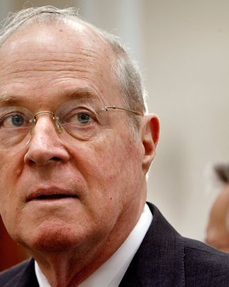 US. Supreme Court Justice Anthony Kennedy prepares to testify before the House Financial Services and General Government Subcommittee on Capitol Hill March 8, 2007 in Washington, DC.