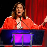 NEW YORK - JUNE 03:  CNN correspondent Candy Crowley speaks on stage during the 34th Annual AWRT Gracie Awards Gala at The New York Marriott Marquis on June 3, 2009 in New York City.  (Photo by Jemal Countess/Getty Images for AWRT) *** Local Caption *** Candy Crowley
