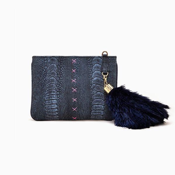 Okapi Black Stonewash Aja Clutch With Black Ostrich Feather Charm