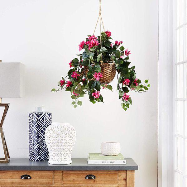 Nearly Natural Silk Bougainvillea Hanging Basket