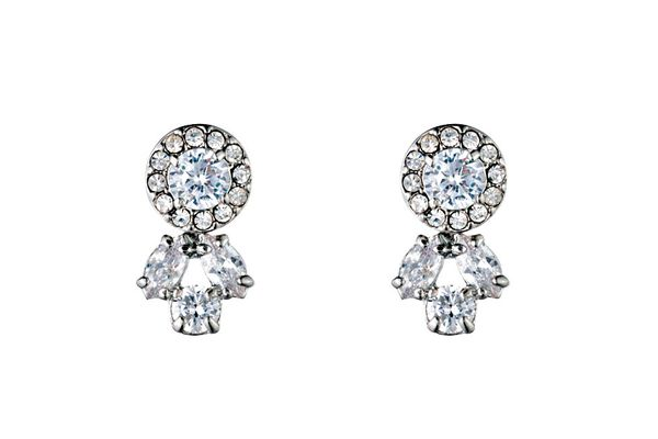 Carolee crystal earrings in silver tone